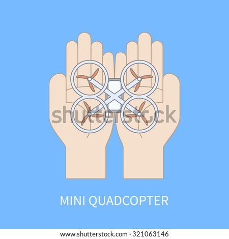 hands with quadcopter vector