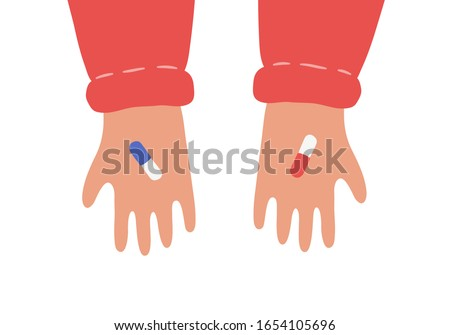 hands with red and blue pills