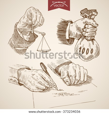 hands with scales bag of money