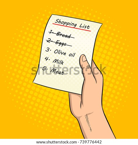 hands with shopping list pop