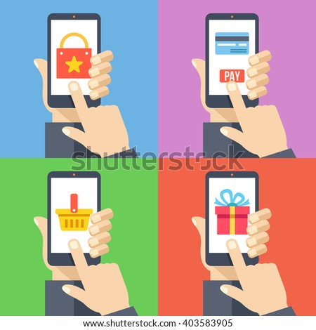 Hands with smartphones 4 banners set. Online shopping, mobile payment, pay with smartphone, shopping basket modern concepts for web banners, web sites, infographics. Flat design vector illustration