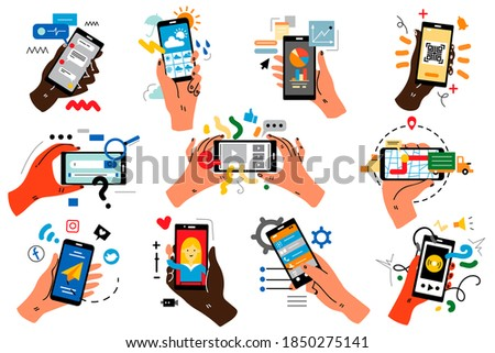 Hands with smartphones doodle set. Human palms holding mobile phones with colour touchscreen images application. Communication social media networking vector illustration for web sites banner design.