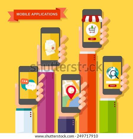hands with smartphones mobile