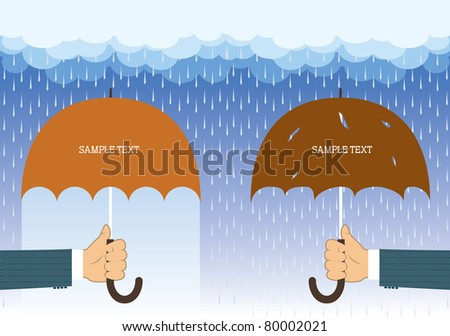 Hands with umbrellas under big rain.Vector background for text
