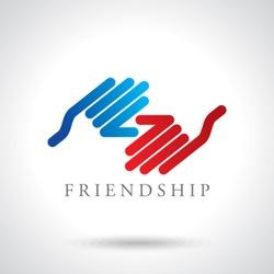 Handshake abstract logo vector design template