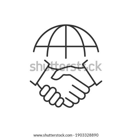 Handshake and globe line icon. International agreement concept. World partnership linear symbol. Vector isolated on white. Photo stock ©