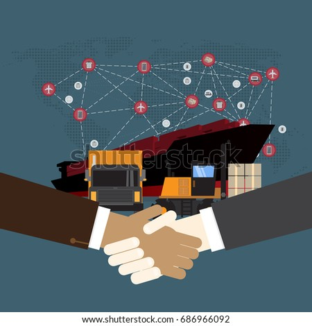Handshake and Logistics and transportation of Container Cargo ship  in shipyard logistic import export and transport industry on world map background