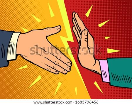 handshake ban, hygiene and sanitation. Comics caricature pop art retro illustration drawing