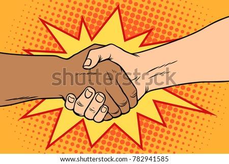 Handshake black and white, African and Caucasian people, friendship, tolerance. Pop art retro vector illustration.
