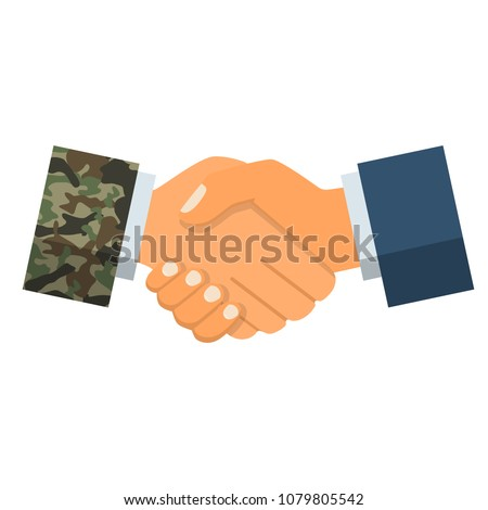 Handshake businessman and soldier. Symbol of successful negotiations. Partnership, meeting. Vector illustration flat design. Isolated on white background.