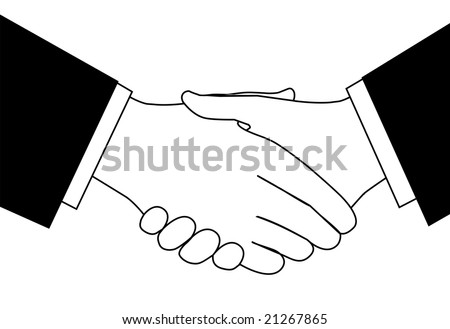 Handshake clipart sketch of business people shaking hands to meet or agree on a deal.