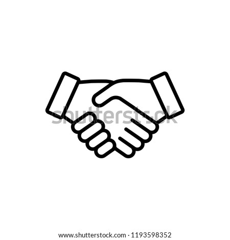 handshake cooperation agreement outline line black icon