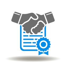 Handshake document seal icon vector. Deal sign. Agreement symbol. Business contract logo.