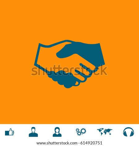 Handshake for business and finance. Blue symbol icon on orange background. Vector illustration and bonus icons Thumb up, Man and Woman avatar, Gears, World map, Headphones