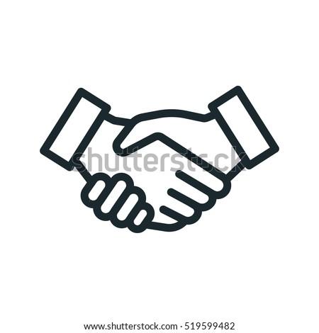 Handshake Friendship Partnership Minimalistic Flat Line Outline Stroke Icon Pictogram Symbol