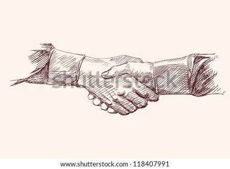Handshake. Hand drawn sketch - stock vector