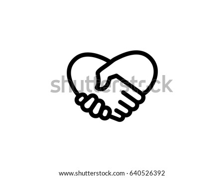 handshake heart love icon