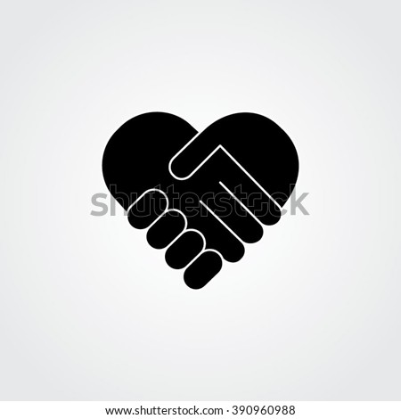 handshake. Heart symbol. Vector illustration