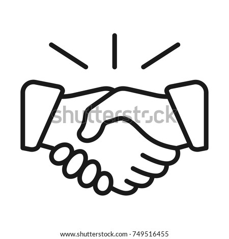 Handshake icon. Deal symbol. Line style