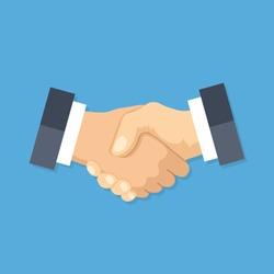 Handshake icon. Shake hands, agreement, good deal, partnership concepts. Premium quality. Modern flat design graphic elements. Vector illustration.