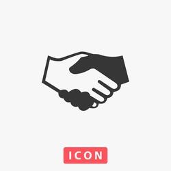 Handshake Icon Vector. Simple flat symbol. Perfect Black pictogram illustration on white background.