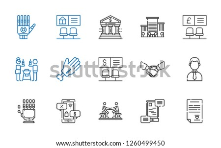handshake icons set. Collection of handshake with wedding contract, communications, agreement, negotiation, hand, businessman, bank, friends. Editable and scalable handshake icons.