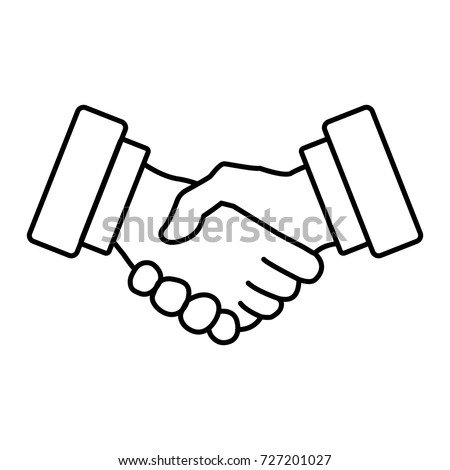 Handshake line icon. Meeting agreement. Successful transaction. Business shake hand, partnership concept. Vector illustration isolated on a background. Symbol of successful deal.