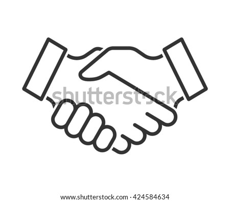 Handshake line icon. Partnership and agreement symbol