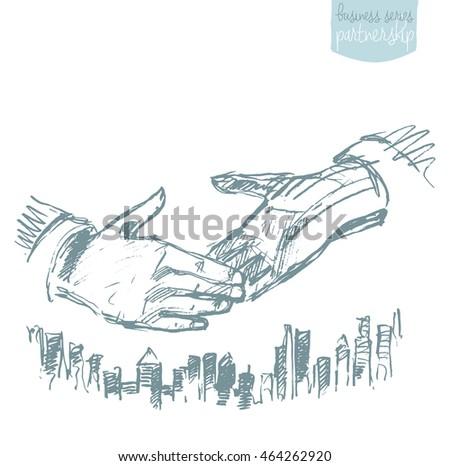 Handshake of businessmen. Success, dealing, partnership. Concept vector illustration, sketch