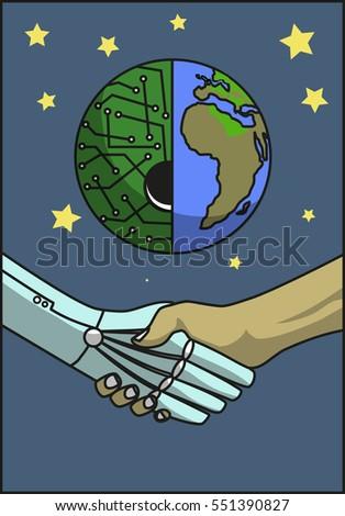 handshake of man and robot on a