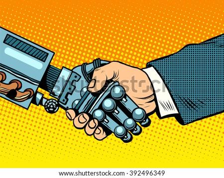 handshake of robot and man new