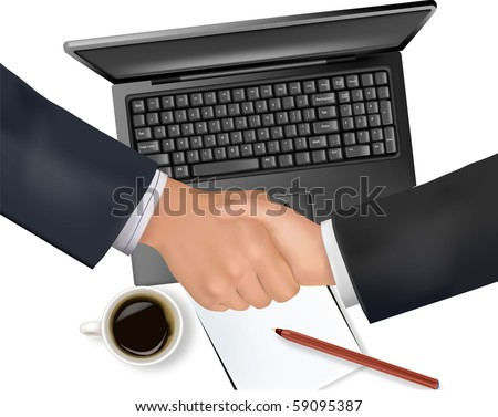 Handshake over paper and computer in the background. Vector.