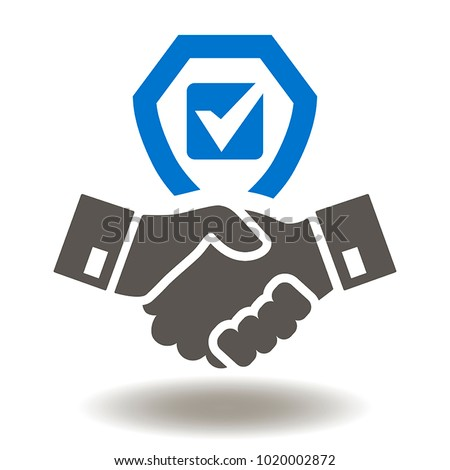 Handshake Shield Check Mark Icon Vector. Trust Commitment Business Illustration.