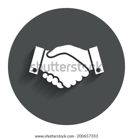 Handshake sign icon. Successful business symbol. Circle flat button with shadow. Modern UI website navigation. Vector