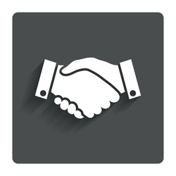 Handshake sign icon. Successful business symbol. Gray flat button with shadow. Modern UI website navigation. Vector