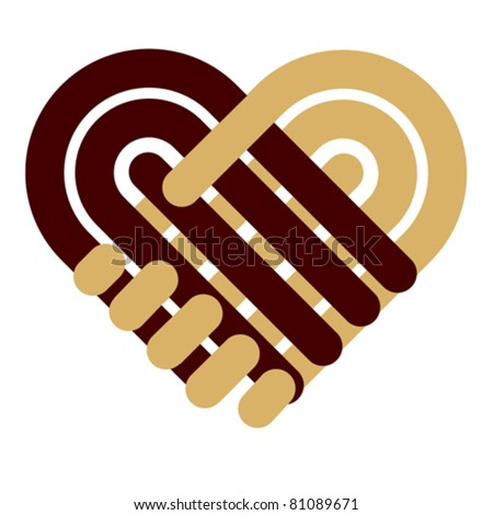 Handshake symbol forming a heart Hands shake Handshake symbol Icon heart Heart symbol Heart sign Hart hand Handshake agreement love Heart vector Handshake logo logotype Heart teamwork friendship