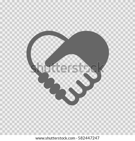 Handshake symbol forming a heart vector icon eps 10. Hands shaking on transparent background.