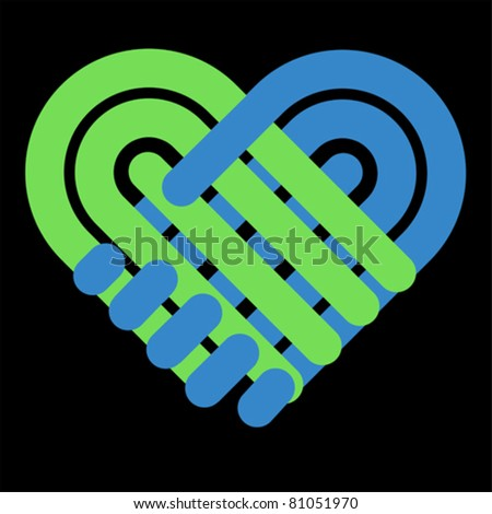 Handshake symbol forming a love heart. Business partnership and together concept. Give icon
