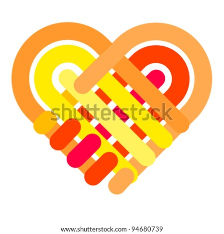 Handshake symbol forming a love heart. Business partnership, together and helping concept.. Give icon