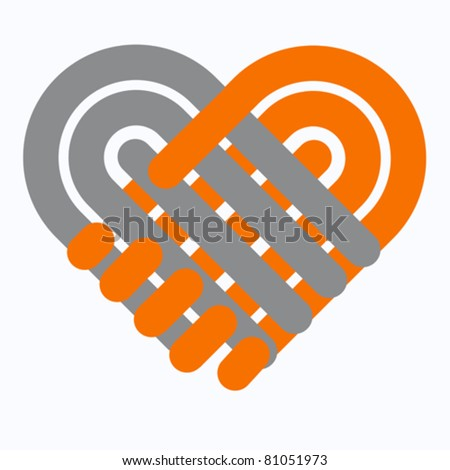 Handshake symbol forming  heart  Hands shake logo, Handshaking logotype, business agreement, love, teamwork logo, help