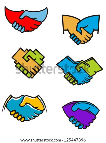 Handshake symbols and icons set for business or another design, such as idea of logo. Jpeg version also available in gallery