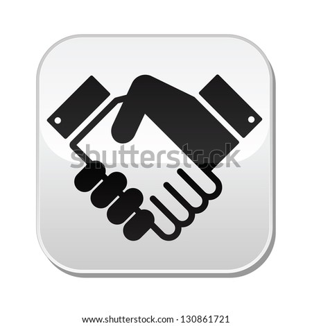 Handshake vector button - agreement, business concept