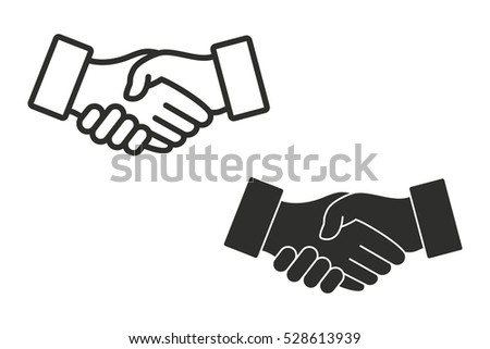 Handshake vector icon. Black illustration isolated on white background for graphic and web design.