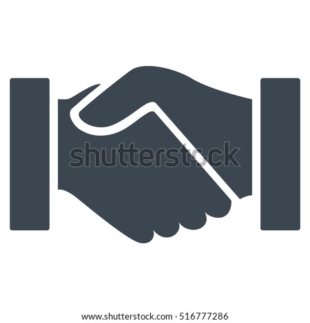 Handshake vector icon. Flat smooth blue symbol. Pictogram is isolated on a white background. Designed for web and software interfaces.