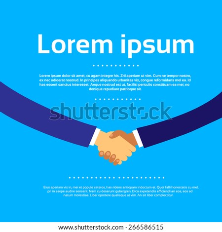 Handshake with Copy Space Business Hands Shake Flat Design Vector Illustration