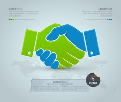 Handshake with world map on the grey background. Vector Infographic template. Partnership concept. Business icon.