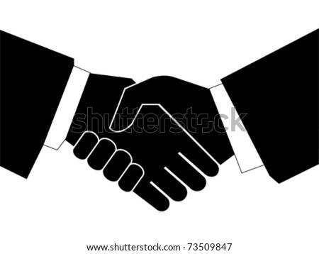 Handshaking with each other on white background - stock vector