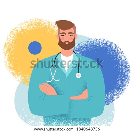 Handsome adult male doctor with arms crossed. Medical doctor in uniform with a stethoscope. General practitioner, cardiologist or surgeon. Isolated flat vector illustration on an abstract background Stockfoto ©