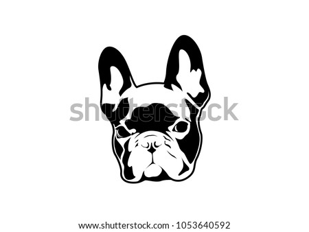 Handsome Black French Bulldog Logo. This is Frenchie Series in Black & White  style.