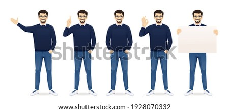 Handsome business man in casual clothes standing in different poses set isolated vector illustration